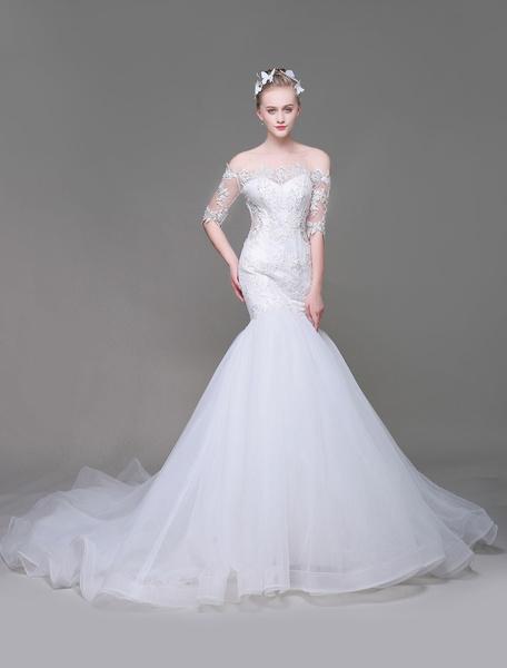 Milanoo Vestido de novia de sirena con escote barco cintura natural De banda de encaje con 1/2 manga de silueta sirena Con cola
