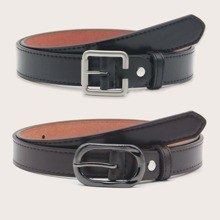 2 piezas cinturon con hebilla metalica