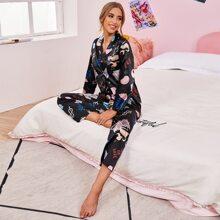 Satin Schlafanzug Set mit Schale Muster