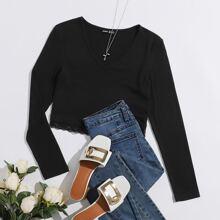 Lace Hem Rib-knit Top