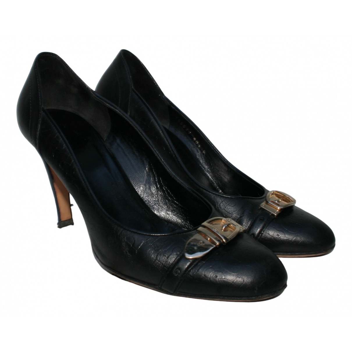 Gucci N Black Leather Heels for Women 40.5 EU