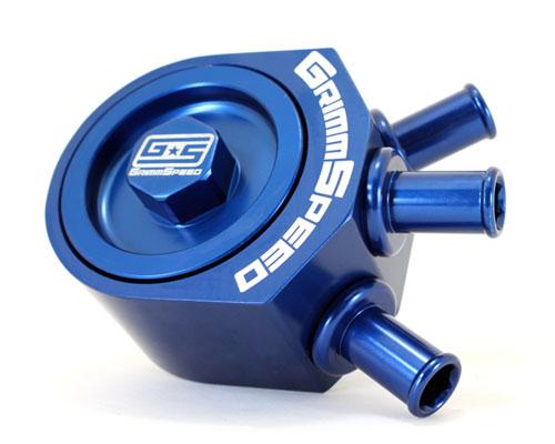 GrimmSpeed 078006B Blue Air Oil Separator Subaru STI 04-17
