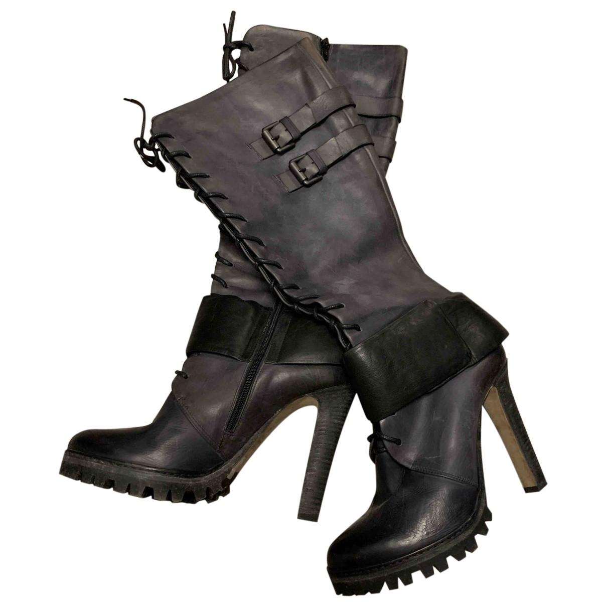 Vic Matié \N Black Leather Boots for Women 39 EU