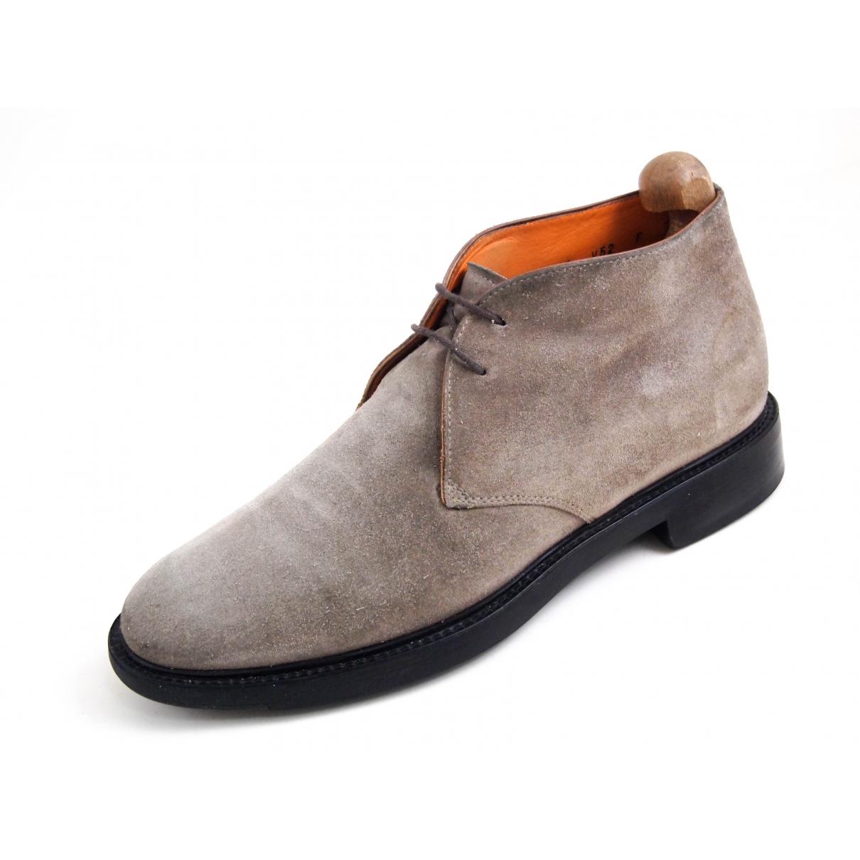 Santoni \N Stiefel in  Grau Veloursleder