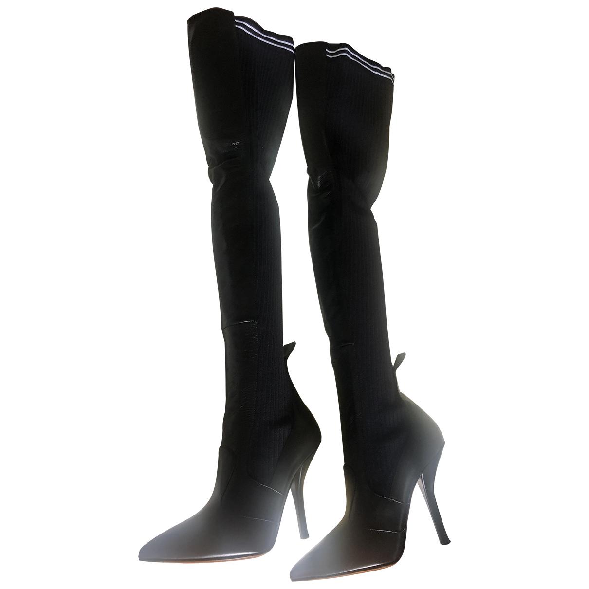 Fendi N Black Leather Boots for Women 40 EU