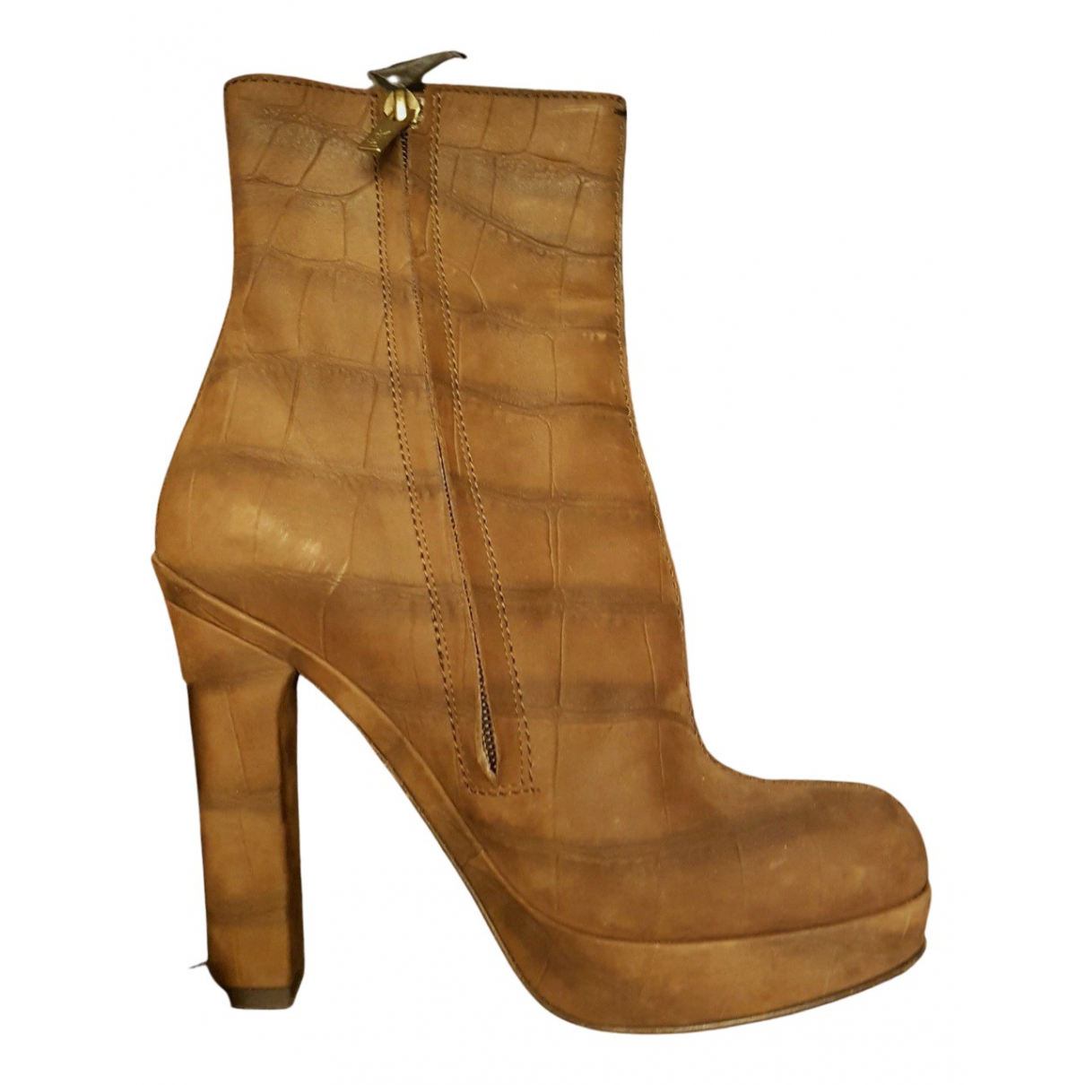 Yves Saint Laurent \N Brown Leather Ankle boots for Women 38 EU