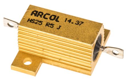 Arcol HS25 Series Aluminium Housed Axial Wire Wound Panel Mount Resistor, 500mΩ ±5% 25W