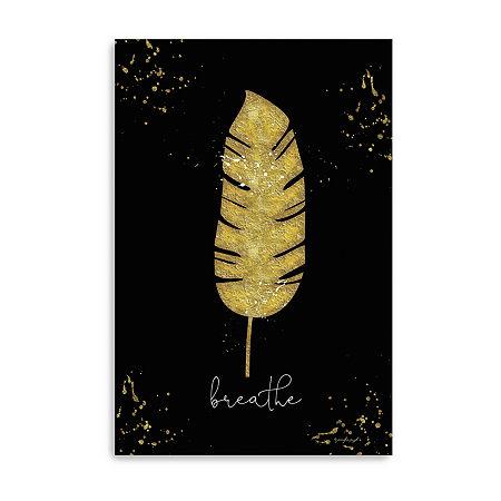 Gold Leaf Palm Breathe Giclee Canvas Art, One Size , Black