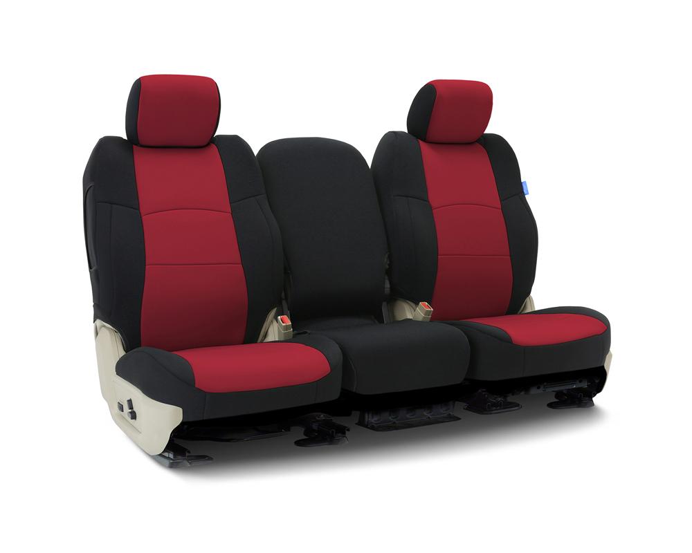 Coverking CSCF2CH10174 Custom Seat Covers 1 Row Neoprene Red | Black Sides Rear Chevrolet Silverado 1500 2019-2021
