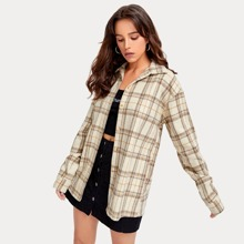 Plaid Button Front Tweed Outwear