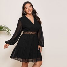 Plus Swiss Dot Lace Waist Mesh Dress