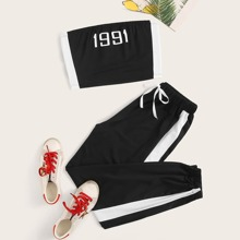 Contrast Tape Letter Tube & Joggers
