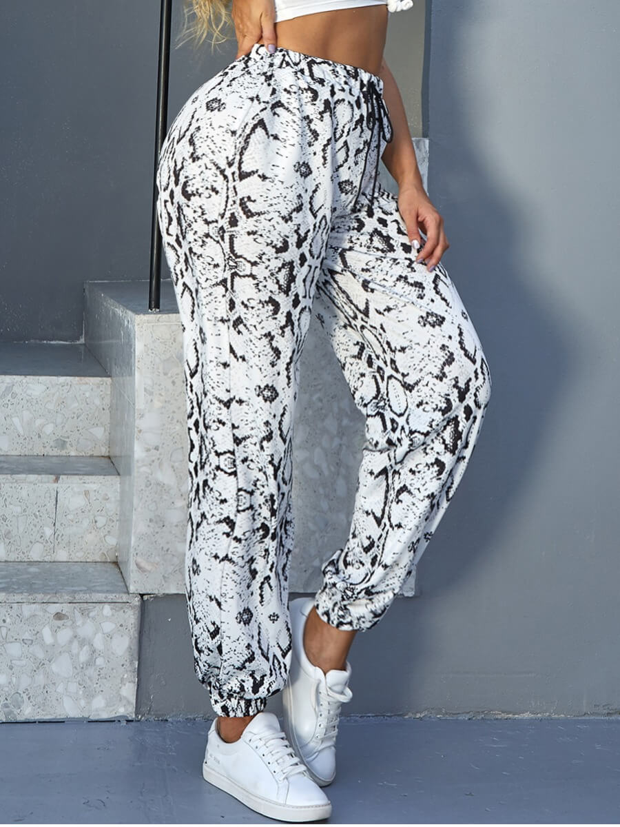 LW Lovely Casual Leopard Print Drawstring White Pants