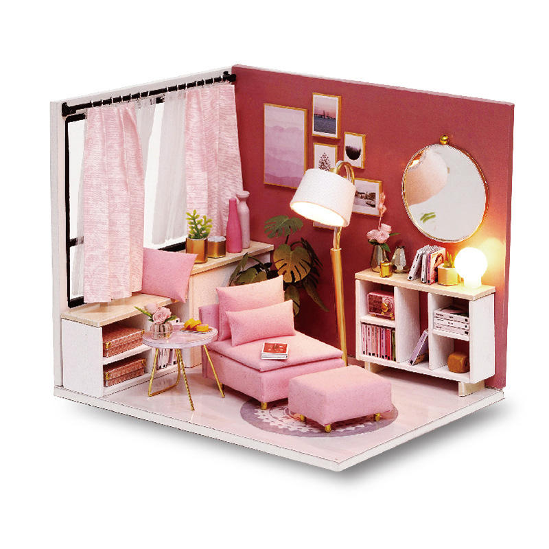 CuteRoom H-017 H-018Happiness Time Living Room Corner DIY Doll House With Furniture Music Light Cover Miniature Model Gi