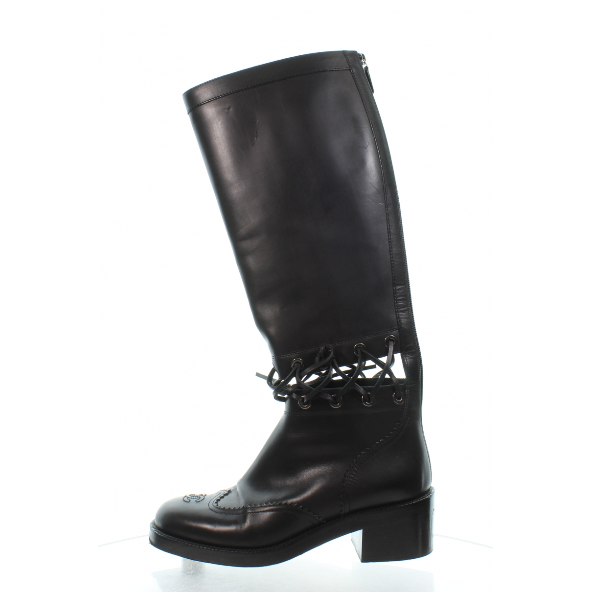 Chanel \N Black Leather Boots for Women 39 EU