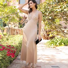 Crisscross Open Back Sequin Bodice Prom Dress