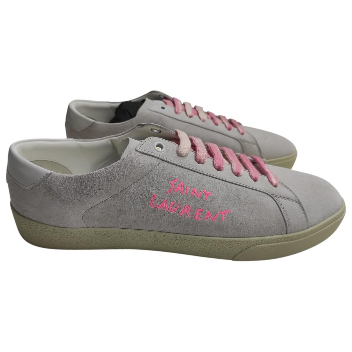 Saint Laurent SL/06 Sneakers in  Grau Veloursleder
