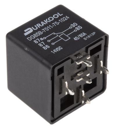 Durakool , 24V dc Coil Non-Latching Relay SPDT, 60A Switching Current Plug In Single Pole
