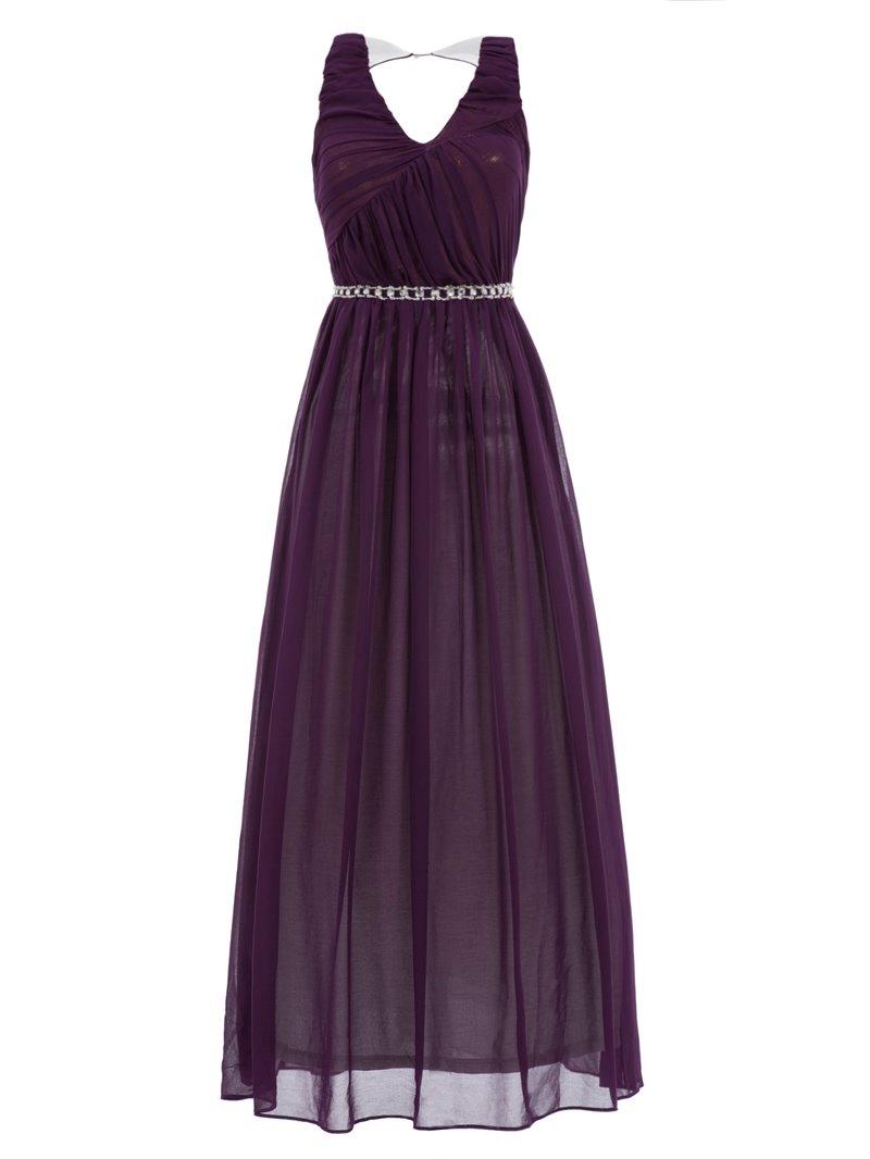 Ericdress A-Line V-Neck Beading Hollow Ankle-Length Evening Dress