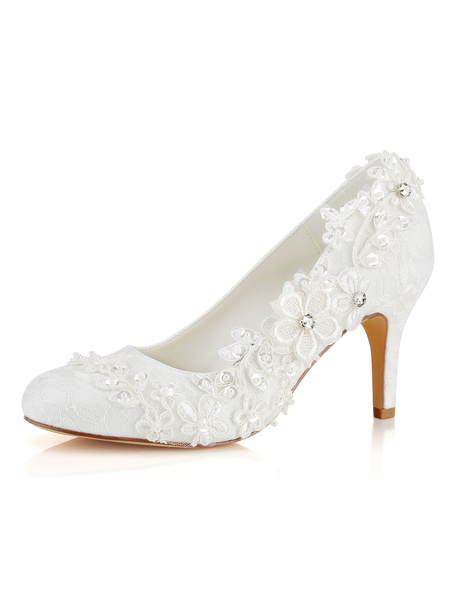 Milanoo Lace Wedding Shoes Round Toe Slip On Bridal Shoes Women High Heels