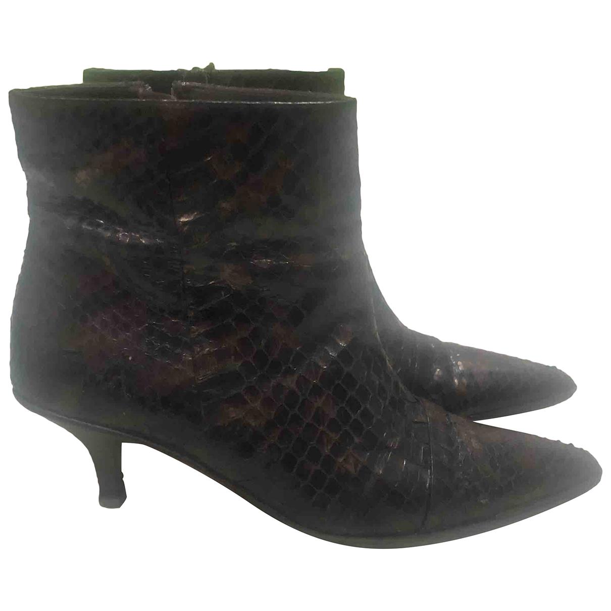 Gucci - Boots   pour femme en python - marron
