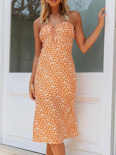 Milanoo Vestido sin mangas de verano Correas de cami Vestido de playa estampado floral