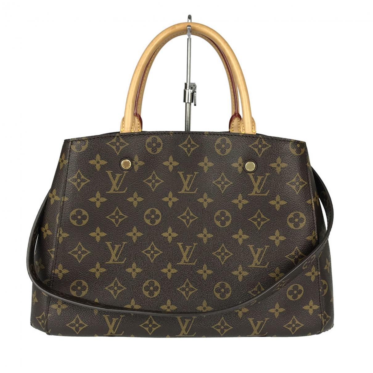 Louis Vuitton Montaigne Handtasche in  Braun Leinen