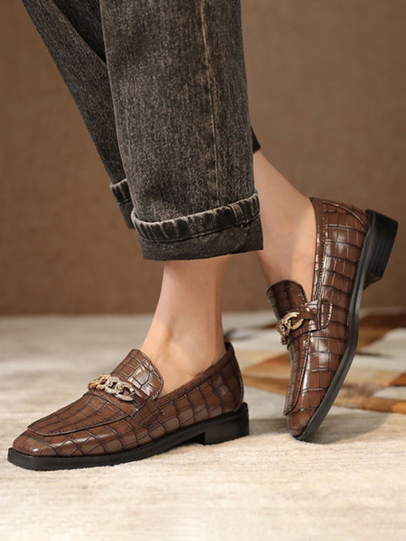 Milanoo Brown Loafers Women PU Leather Square Toe Chains Slip On Shoes