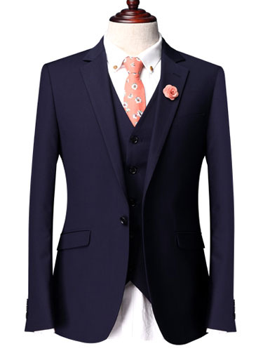 Milanoo Blue Single Breasted One-Button Three Piece Suit
