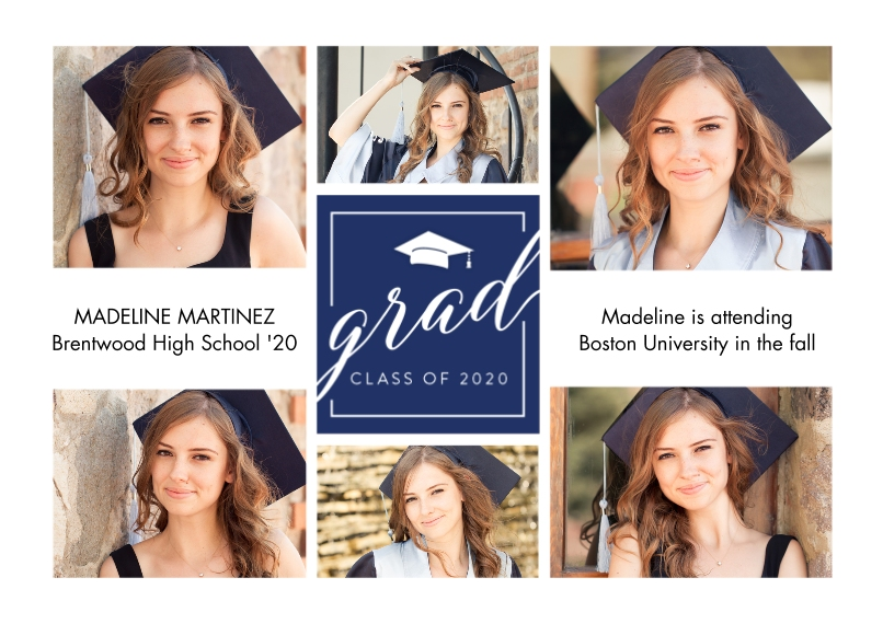2020 Graduation Announcements Flat Glossy Photo Paper Cards with Envelopes, 5x7, Card & Stationery -Grad Cap 2020 by Tumbalina