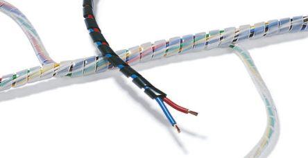 HellermannTyton Spiral Wrap, I.D 16mm 150mm PEFR, Black