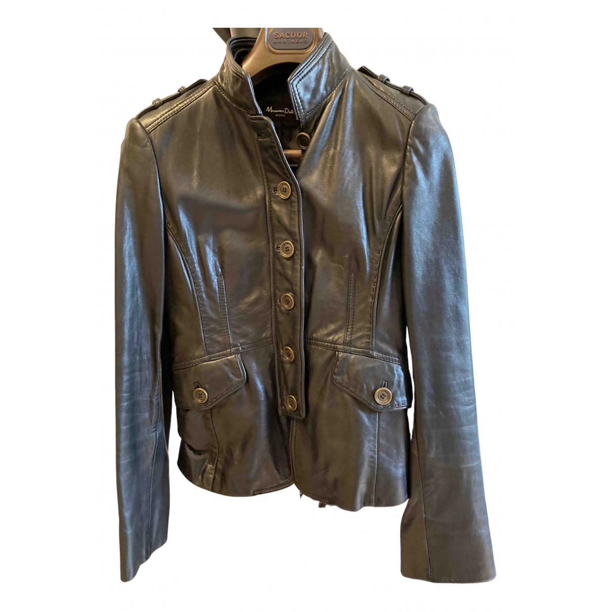 Massimo Dutti N Black Leather Leather jacket for Women M International