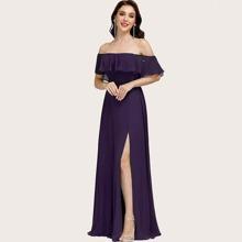 vestido de fiesta con abertura doblado fruncido de hombros descubiertos