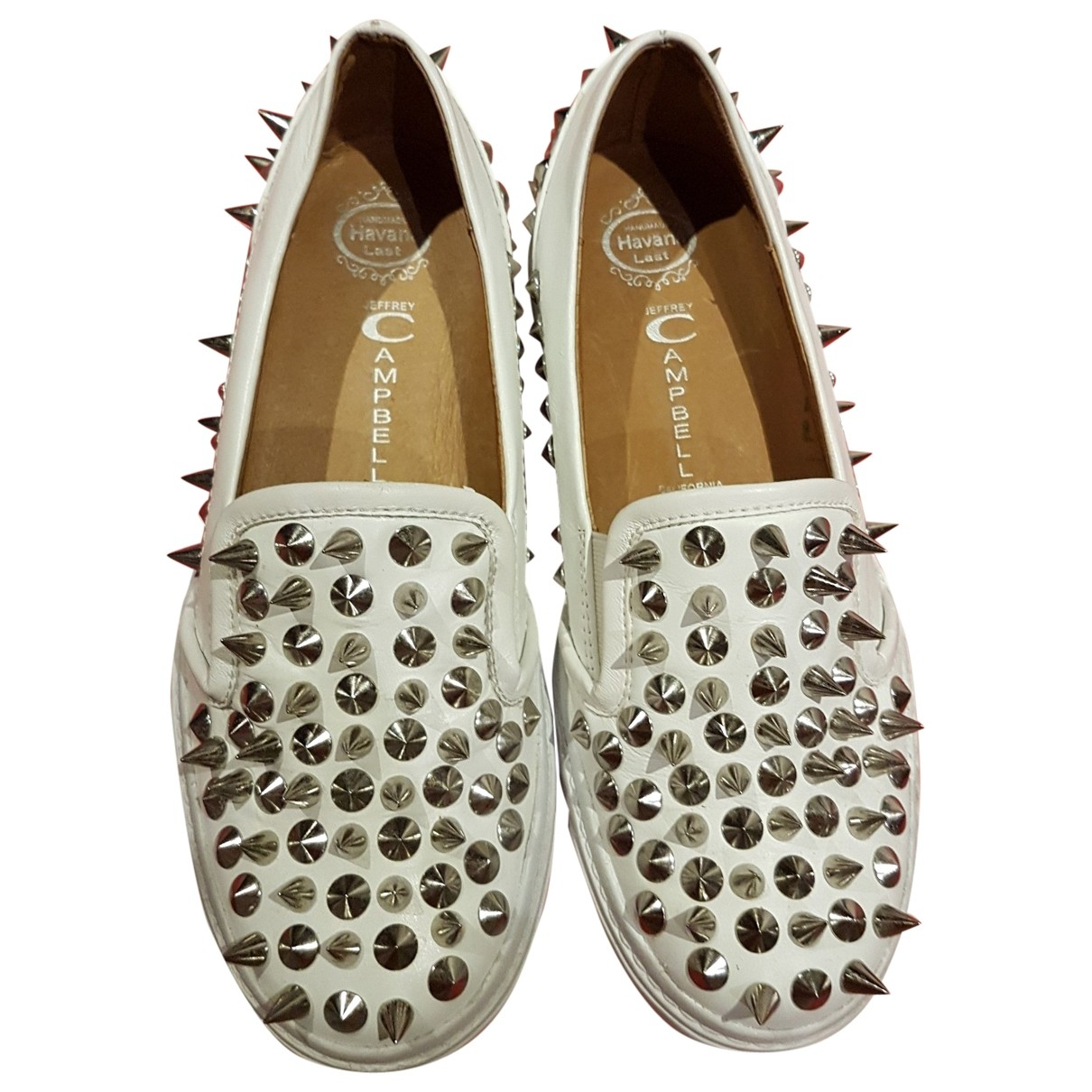 Jeffrey Campbell \N White Leather Flats for Women 37 EU
