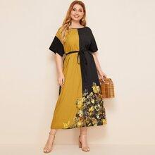 Plus Colorblock Floral Print Belted Dress