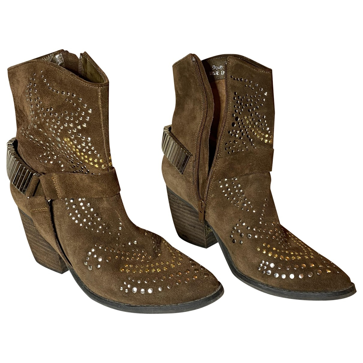 Non Signé / Unsigned N Camel Suede Ankle boots for Women 38 IT
