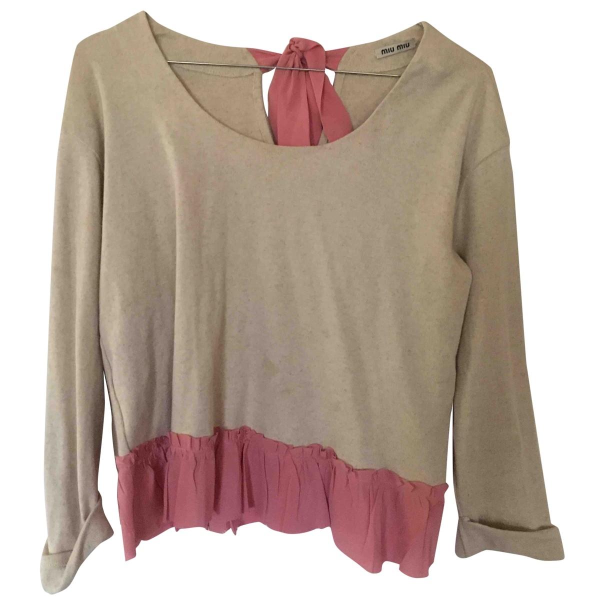 Miu Miu - Top   pour femme en coton - beige