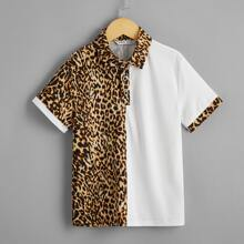 Polo Shirt mit Leopard Muster
