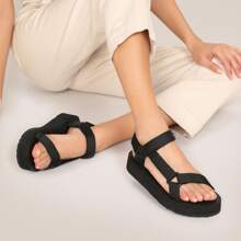 Open Toe Double Velcro Strap Flatform Sandals