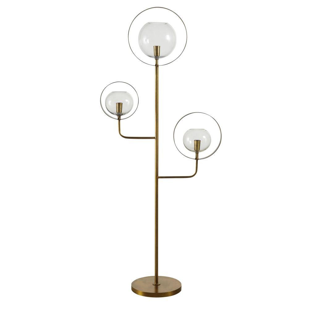 Stehlampe mit 3 Kugelschirmen aus Glas und Metall, goldfarben H149