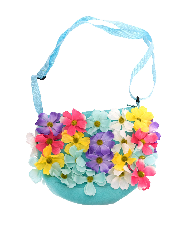 Kostuemzubehor Tasche blau mit Blumen bunt