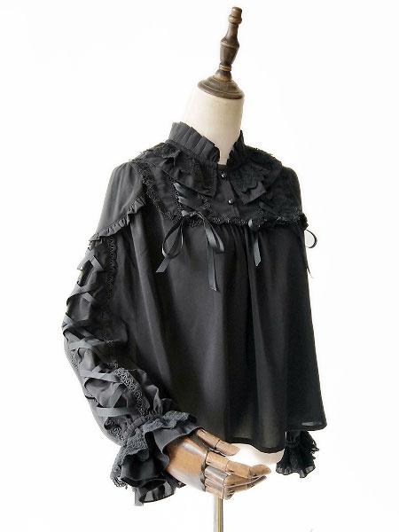 Milanoo Sweet Lolita Shirt Infanta Warm Milk Tea Lace Ribbon Bow Chiffon Lolita Blouse