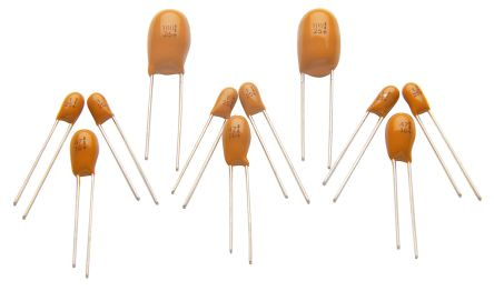 RS PRO Tantalum Electrolytic Capacitor 100nF 50V dc Electrolytic Solid ±20% Tolerance (25)