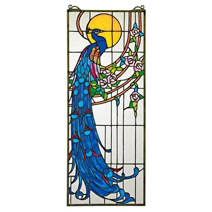 TF26313 Peacocks Sunset Stained Glass