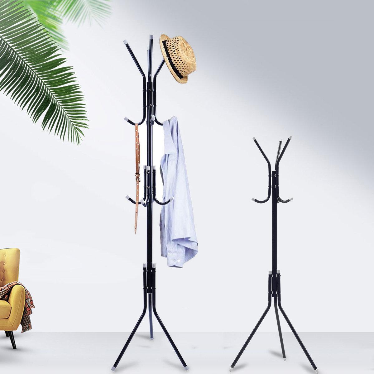 6/9 Hooks Stand Coat Rack Tree Hat Jacket Umbrella Cloth Hanger Holder Metal Storage