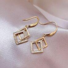 Rhinestone Decor Square Link Drop Earrings