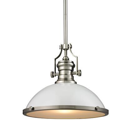 66526-1 Chadwick 1 Light Pendant in Gloss White/Satin