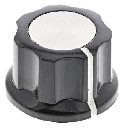 TE Connectivity Potentiometer Knob, Grub Screw Type, 21.7mm Knob Diameter, Black, 6.35mm Shaft