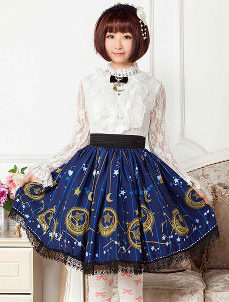 Milanoo Vestido de falda corta lolita de poliester con estampado de estrellas azul profundo para niñas
