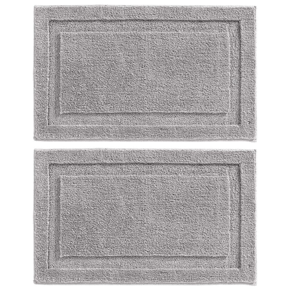 Microfiber Bath Mat / Non-Slip Bathroom Rug in Steel Gray, 34 x 21, Set of 2, by mDesign